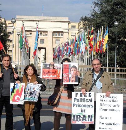 Mahnwache vor der UNO in Genf, Februar 2012