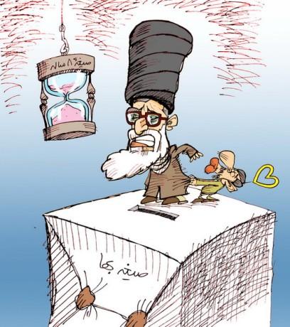 Khamenei und Ahmadinedjads Zeitehe (Nikahang Kowsar)