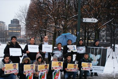 Mahnwache für Reza Shahabi in Oslo, Dezember 2012