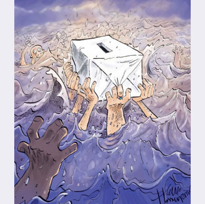 Bozorgmehr Hosseinpour cartoon - Wahlen in Iran