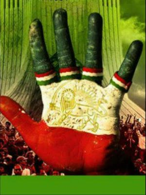 iran flag hand