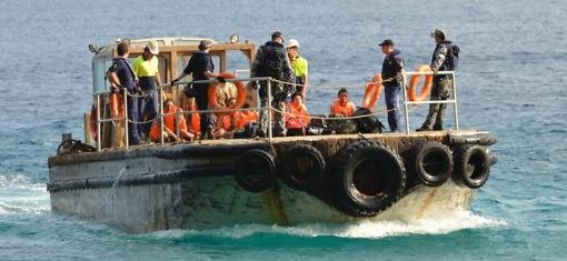 Gerettete Bootsflüchtlinge vor Australien