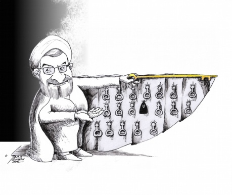 Political-cartoon-Rohani-Cabinet-Key-Salesman-2013-by-Kaveh-Adel-Iranian-American-Cartoonist